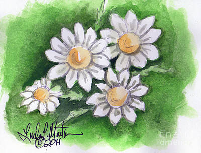 Camomile Flowers Poster by Linda L Martin