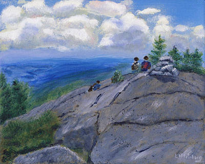 Poster featuring the painting Campers On Mount Percival by Linda Feinberg