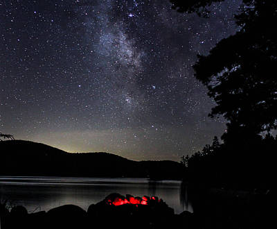 Poster featuring the photograph Campfire Under The Stars by Jessica Tabora