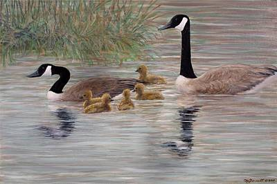 Poster featuring the painting Canada Goose Family by Kathleen McDermott
