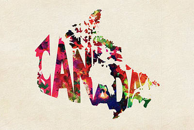 Canada Typographic Watercolor Map Poster by Ayse Deniz