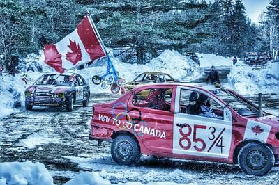 Canadian Flag Demolition Derby Car Poster by Lliem Seven