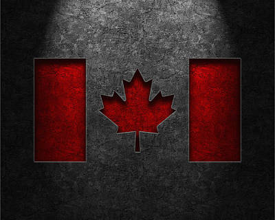 Poster featuring the digital art Canadian Flag Stone Texture by Brian Carson
