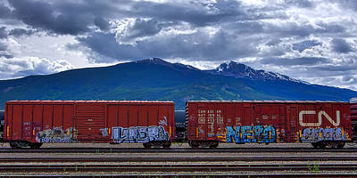 Canadian Freight Train In Jasper Poster by Stuart Litoff