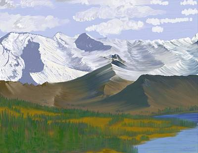 Poster featuring the digital art Canadian Rockies by Terry Frederick