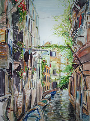 Poster featuring the painting Canal 2 by Becky Kim