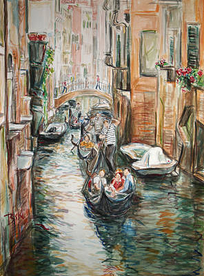 Poster featuring the painting Canal 3 Row A Boat by Becky Kim