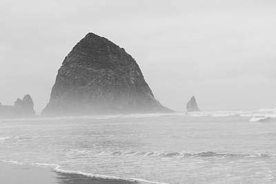 Canal Beach Oregon Black And White Poster
