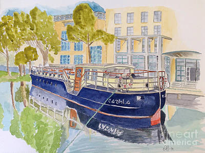 Poster featuring the painting Canal Boat by Eva Ason