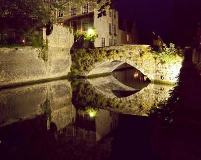 Canal Bridge Reflection Poster