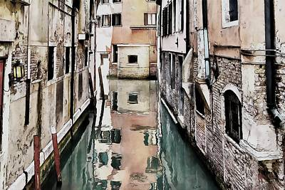 Poster featuring the digital art Canal In Venice by Kai Saarto