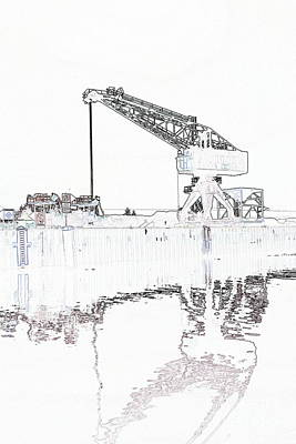 Canal Port Crane Drawing Poster by Christiane Schulze Art And Photography