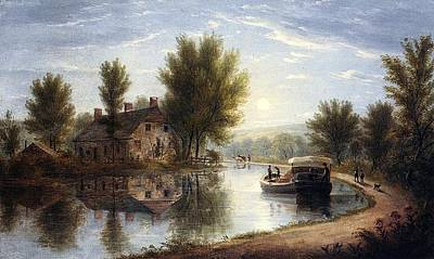 Canal Scene Susquehanna River Poster by William Miller