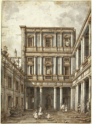 Canaletto, Italian 1697-1768, A Venetian Courtyard Poster by Litz Collection