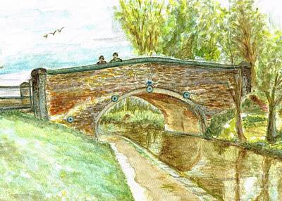 Poster featuring the painting Canal-bridal Path In Staffordshire  by Teresa White