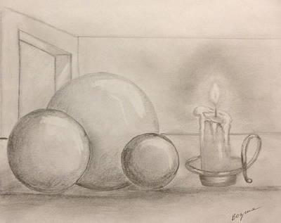 Poster featuring the drawing Candle And Balls by Bozena Zajaczkowska