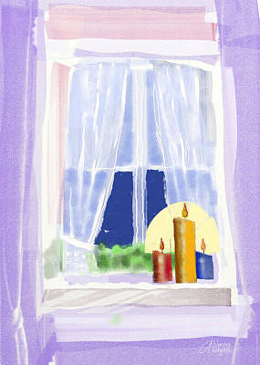 Poster featuring the digital art Candles In The Window by Arline Wagner
