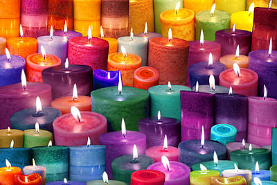 Candles Rainbow Colours Poster by Alixandra Mullins