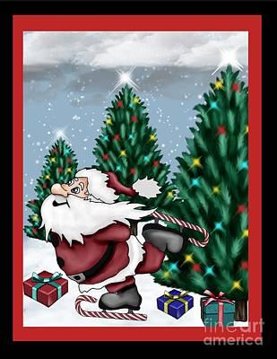 Candycane Santa Poster by Karen Sheltrown