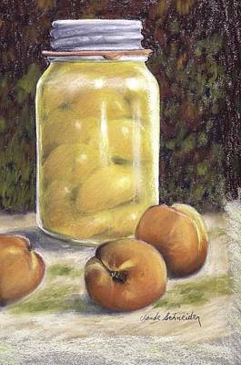 Poster featuring the painting Canned Peaches by Claude Schneider