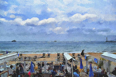 Cannes Beach At Breakfast Poster