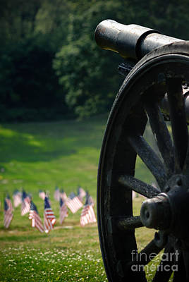 Cannon Memorial With American Flags Poster