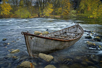 Canoe Aground On The Thornapple River In Autumn Poster by Randall Nyhof