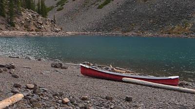 Canoe At Moraine Lake Poster