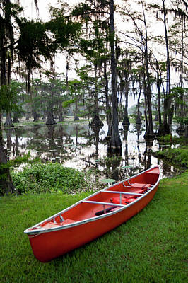 Canoe By Caddo Lake, Texas's Largest Poster by Larry Ditto
