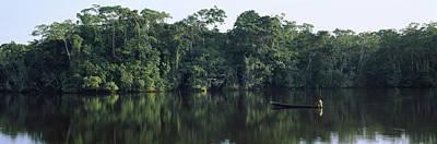 Canoe In A River, Napo River, Oriente Poster