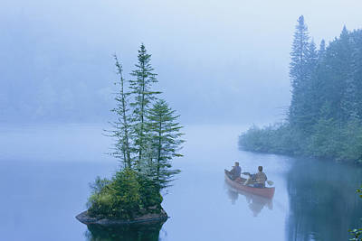 Canoe In The Mist On Jacques-cartier Poster by Yves Marcoux
