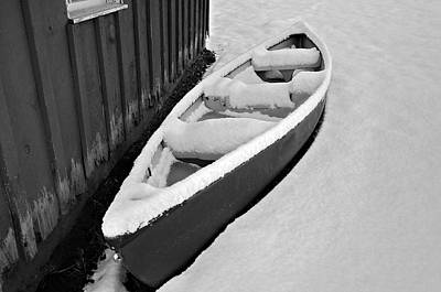 Canoe In The Snow Poster by Susan Leggett