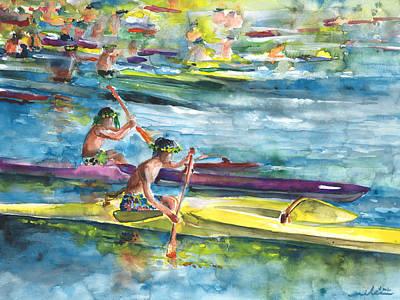 Canoe Race In Polynesia Poster by Miki De Goodaboom