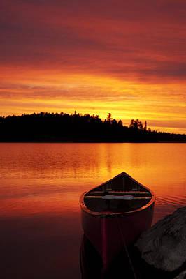 Canoe Sunset Poster