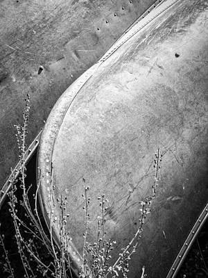 Canoes And Lavender Bw Poster by Carolyn Marshall