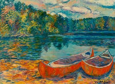Canoes At Mountain Lake Poster