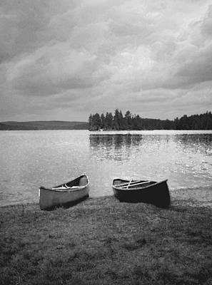 Canoes - Canisbay Lake - B N W Poster