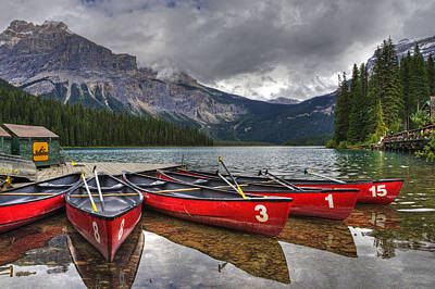 Canoes On Emerald Lake Poster by Darlene Bushue