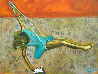 Poster featuring the painting Canyon Road Sculpture by Keith Thue