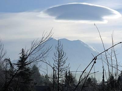 Cap Over Mt. Rainier Poster