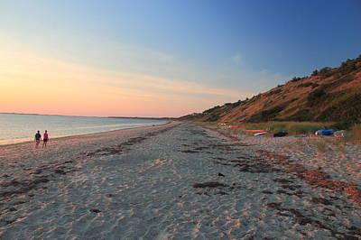 Cape Cod Bay Evening Beach Walk Poster by John Burk