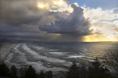 Poster featuring the photograph Sunset At Cape Lookout Oregon Coast by Yulia Kazansky