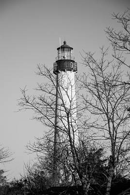 Cape May Light B/w Poster