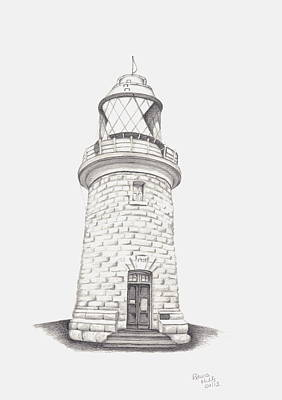 Poster featuring the drawing Cape Naturalist Lighthouse by Patricia Hiltz