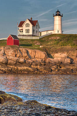 Cape Neddick Lighthouse In Evening Light - Portrait Poster by At Lands End Photography