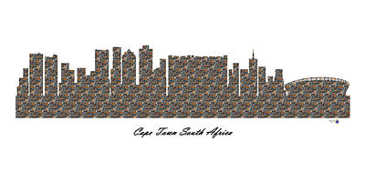 Cape Town South Africa 3d Stone Wall Skyline Poster
