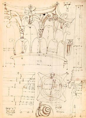 Capital Detail Drawing Poster by Jon Neidert