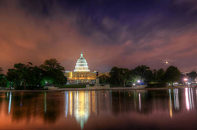 Poster featuring the photograph Capitol At Night by Michael Donahue