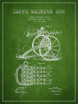 Capps Machine Gun Patent Drawing From 1902 - Green Poster by Aged Pixel