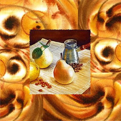 Cappuccino Abstract Collage Pears Poster by Irina Sztukowski